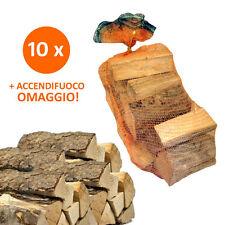 10 Sacchi da 15kg Legna da Ardere 100% Carpino 150kg Tronchetti per Camino Stufa