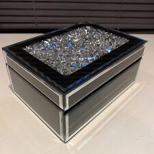 CRUHED JEWELS MIRROR DIAMANTE JEWELLERY BOX CHEST TRINKET KEEPSAKE GLASS BOX