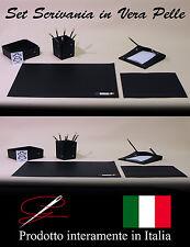 PREGIATO SET SCRIVANIA IN VERA PELLE - 5 PEZZI - IDEA REGALO - MADE IN ITALY