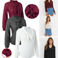 Women Solid Bow Tie Neck Chiffon Blouses Long Sleeve Casual Button Shirts New