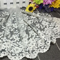 Many Flowers Embroidered Lace Edge Trim Fabric Craft Cloth 35cm Wide