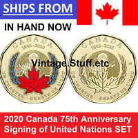 2020 $1 Canada Coin Color No Colored 75th ANNIVERSARY UNITED NATIONS UN SET UNC