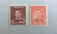 APD561) Australia 1937 1 1/2d KGVI Maroon 2d KGVI Red Die I MUH