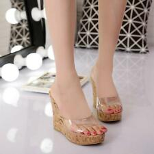 Women Transparent Platform Slippers Sandals Open Toe High Wedge Heels Shoes