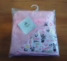 MINNIE MOUSE PINK BLANKET W/ MULTI-COLOR HEARTS / 30'' BY 30'' / DISNEY BRAND