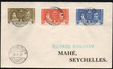 Seychelles, 1937 Coronation FDC, pmk'd Bay St. Anne, Praslin.