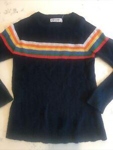 H & M Sweater Blue Crewneck Size 6-8y Stripe 100% Cotton