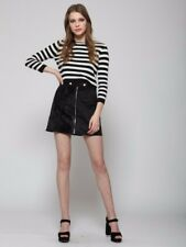 BNWT. Goldie London. Take it easy, black faux pony skin skirt with front zip.