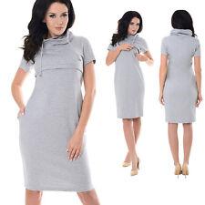 Purpless Maternity New Nursing Breastfeeding Funnel Neck Short Sleeve Dress 6225