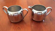 Vtg Mcm Keystoneware Silver Mirrored Chrome Plated Creamer and Sugar Bowl Set