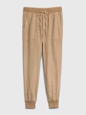 GAP Women's Utility Joggers in Linen-Cotton Tan Sand - SIZE S