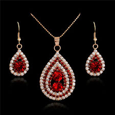 Women Lady Necklace Earrings Red Rhinestone Crystal Bridal Wedding Jewelry Set