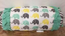 Bacati Elephants Neck Roll- Mint/Yellow/Gray