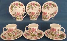 VINTAGE Elisabettiano Meadow FIORI ROSA SEI TAZZE PIATTINI Retro Kitsch Tè Set