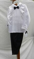 NWT Sarah Louise & Noel Bryan Boy's Tuxedo Shirt w/Bow Tie & Navy Blue Pants 18m