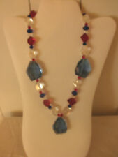 Sparkle Red, White & Blue Chunkey Crystal Necklace
