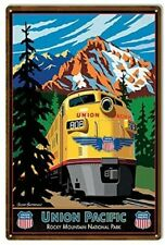 "Union Pacific Railroad Rocky Mountain Park Vintage Retro Tin Metal Sign 8"" X 12"""