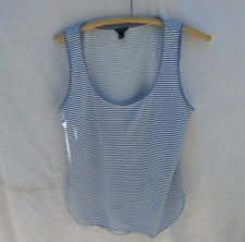 Ann Taylor Striped Tank Top Sleeveless Blue White Women M