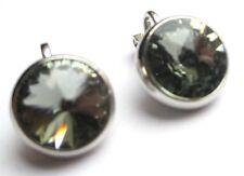 boucles d'oreilles clips couleur argent bijou vintage cristaux diamant CZ 746