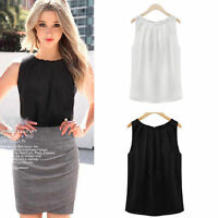 Sexy Women`s Summer Loose Casual Chiffon Sleeveless Tank Vest Shirt Tops Blouse