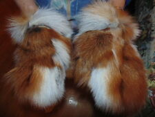 New Real Natural Red Fox Fur Gloves Mittens Furry Beautiful