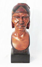 Bolivian Indio Inca Bust Wood Sculpture Handcrafted Handpainted Signed