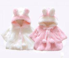 Newborn Baby Girl Fur Winter Warm Hooded Cute Coat Cloak Poncho Jacket Thick