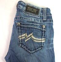 MISS ME Womens Med Wash Topstitch Vegan Leather Trim Pckts Bootcut Jeans 28 x 30