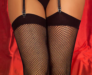 Classic Sexy Fishnet Stockings With Comfort Band Seam Or No-Seam 3 Colours