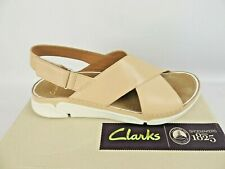 50 Clarks Ladies Tri Alexia Trigenic Nude Leather Flat Sandals