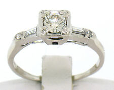 Vintage 18k White Gold Round & Baguette VVS Diamond Engagement Solitaire Ring