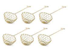 Fondue Sieb 6er Pack Messing für Feuertopf Mongolentopf Löffel Sieblöffel gold