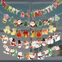 Merry Christmas Banner Bunting Garland Hanging Santa XMAS Party Decoration