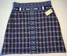 NEW STUDIO M Stretch Rayon Skirt Size Small Blue Black White Elastic Waist Dress