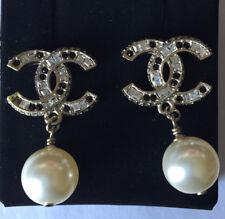 Chanel CC Dangle Pearl Earrings Clear & Black Crystal Gold