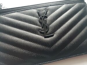 YSL Yves Saint Laurent Monogramme Quilted Calfskin Zip Pouch Black item #5850576