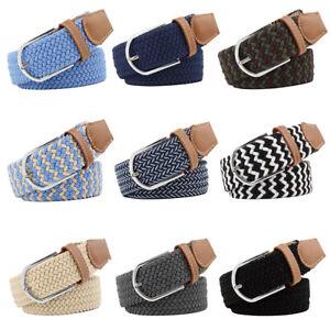 Unisex Elasticated Webbing Trouser Braided Belts Trim Stretch Canvas Buckle Belt