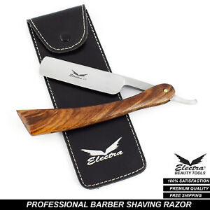 Professional Barber Salon Straight Cut Throat Shaving Razor NEW, Wooden Handle