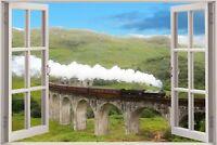 Huge 3D Window view Black 5 Train Viaduct Wall Sticker Mural Art Decal 1133
