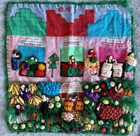 "Vintage PERUVIAN Handmade ARPILLERA Folk Art Mercado Wall Tapestry 17.5"" x 17.5"""