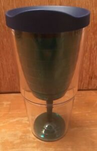 Tervis 24 OZ. Tumbler Green Wine Glass Insert Insulated EUC W/ Blue  Lid
