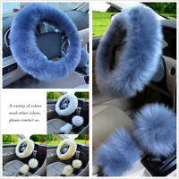 Gray Blue Fur Car Steering Wheel Cover 3Season Essential Furry Fluffy Thick Faux