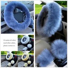 Gray Blue Fur Car Steering Wheel Cover 3Season Essential Furry Fluffy Thick Faux