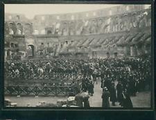 Italie, Rome, Militaires cavaliers dans le Colisée, ca.1900, Vintage silver prin