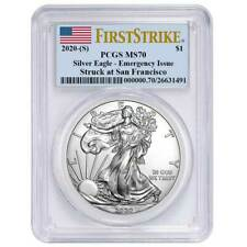 2020 (S) $1 American Silver Eagle Pcgs Ms70 Emergency Issue Fs Flag Label