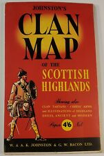 c1950s Clan Map Of The Scottish Highlands Johnston & Bacon