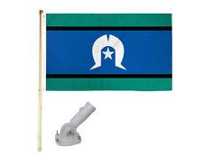 New listing 5' Wood Flag Pole Kit Nylon White Bracket 3x5 Torres Strait Islander Poly Flag