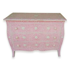 """Curved French Provincial Style Bone Inlay Dresser Chest of drawers in pink 42"""""""