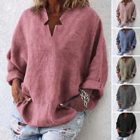 VONDA Women Oversized Pullover Tunic Tops Long Sleeve T-Shirt Solid Plain Blouse