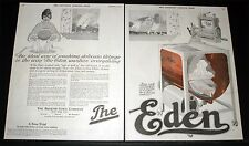 1919 OLD MAGAZINE PRINT AD, EDEN WASHING MACHINE & WRINGER, FOR DELICATES, ART!